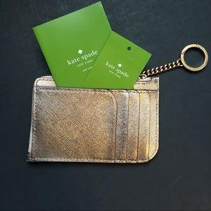 Kate Spade card case key chain cameron metallic